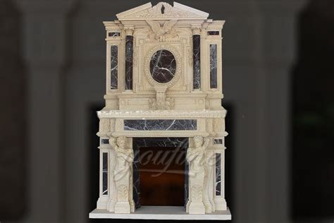 Large Marble Fireplaces by Large Luxury Beige Marble Fireplace Mantel For Sale