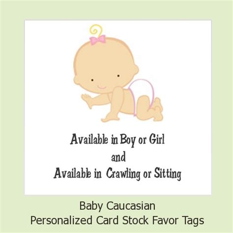 Personalized Baby Shower Tags by Baby Shower Favor Tags Baby Caucasian Favor Tags