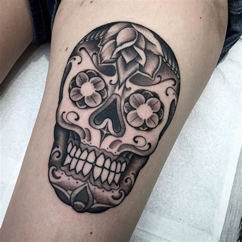 skull leg tattoo thigh chicano skull best ideas gallery