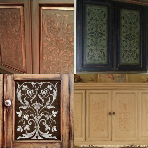 How To Paint A Cabinet Door 20 Diy Cabinet Door Makeovers With Furniture Stencils Royal Design Studio Stencils