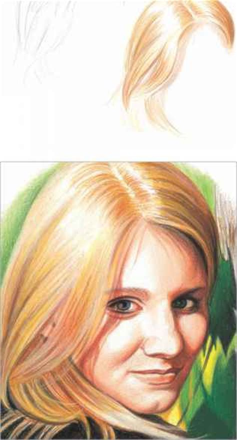 colored pencil hair continue to layer the skin tones and shadows drawing in