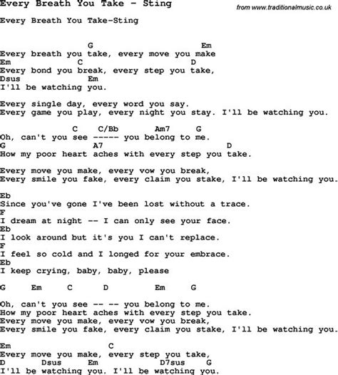 easy testo song every breath you take by sting with lyrics for vocal