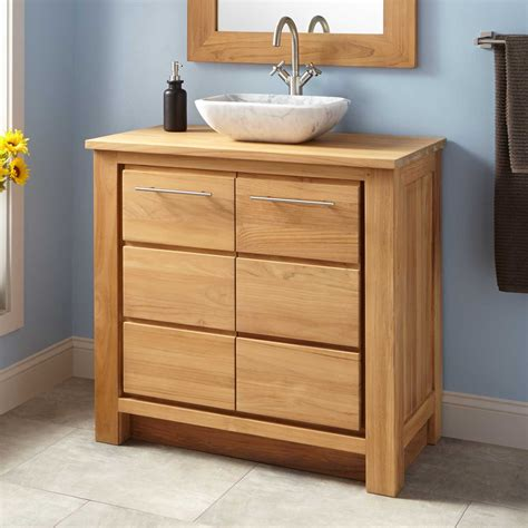 bathroom vanity small depth 36 quot narrow depth venica teak vessel sink vanity bathroom