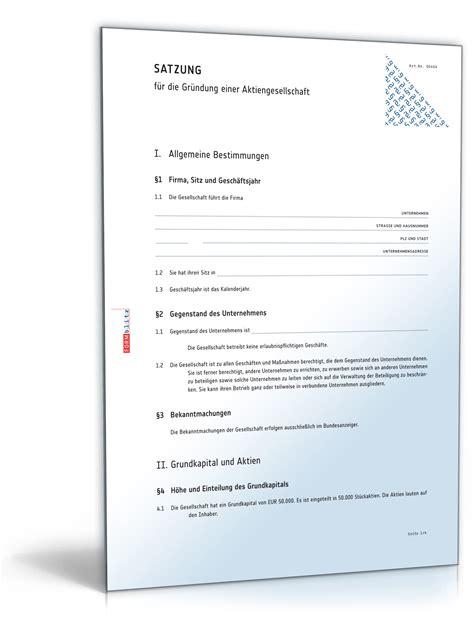 Muster Einladung Hauptversammlung mustersatzung f 252 r die gr 252 ndung einer aktiengesellschaft