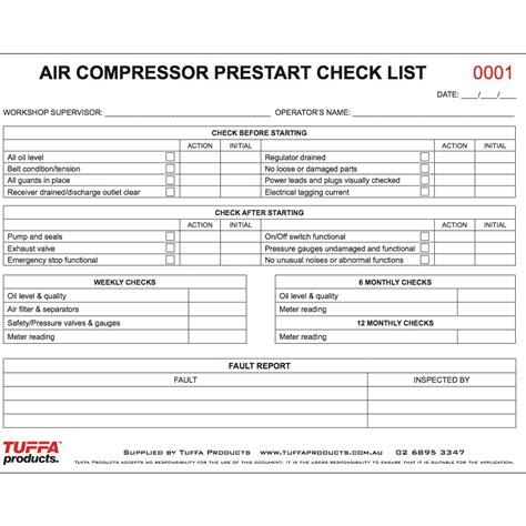 air compressor prestart books tuffa products