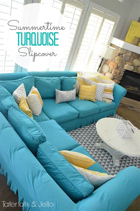turquoise loveseat slipcover switching things up for summer with a turquoise slipcover