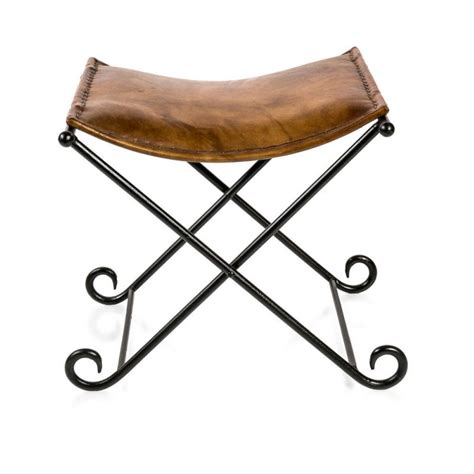 Leather Folding Stool aged brown leather iron leather folding stool buy stools