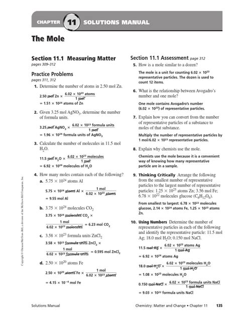 the mole section 11 1 measuring matter answers chapter 11 solutions to hw