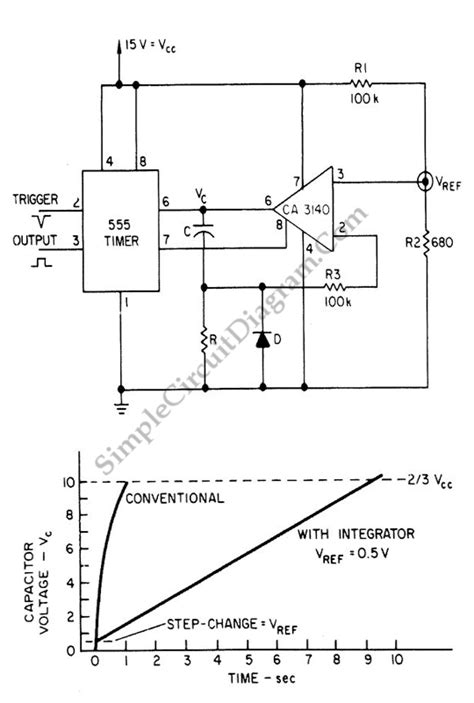 integrator circuit graph extending 555 timer circuit diagram world