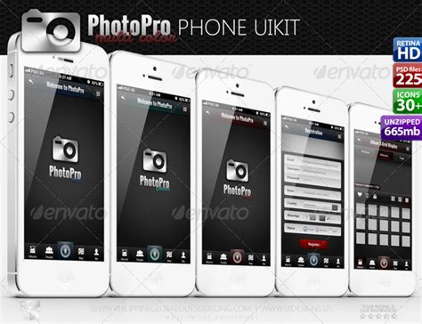 uikit templates photopro mobile application ios and android ui kit by