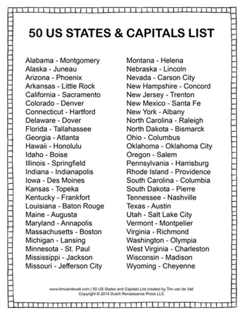 list of 50 states printable states and capitals list social studies study