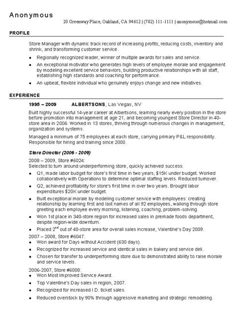 Retail Resume Example: Retail Industry Sample Resumes
