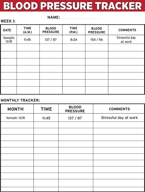 blood pressure log template excel