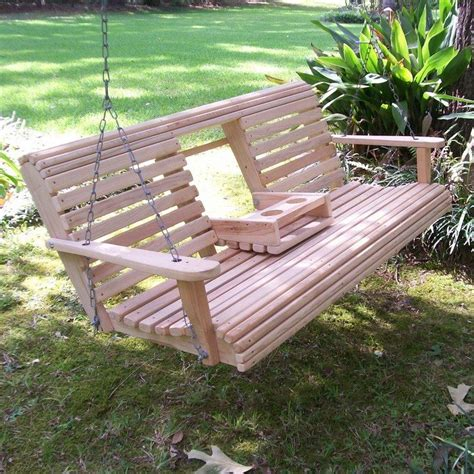 Patio Swing Blueprint Build A Wood Porch Swing With Cup Holders Diy Projects