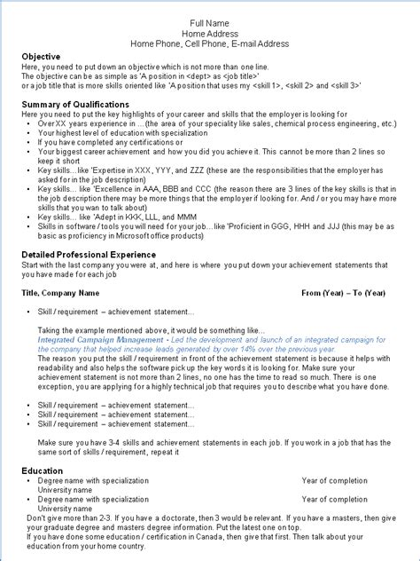 canadian resume exles for highschool students canada resumes free excel templates