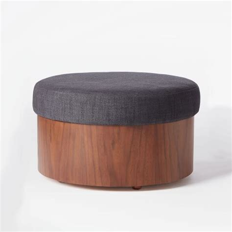 upholstered ottoman with storage upholstered storage ottoman west elm