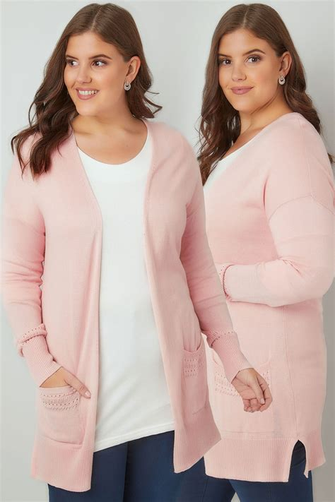 Po Address Finder Blush Pink Longline Cardigan With Pointelle Pocket Cuff Detail Plus Size 16 To 36
