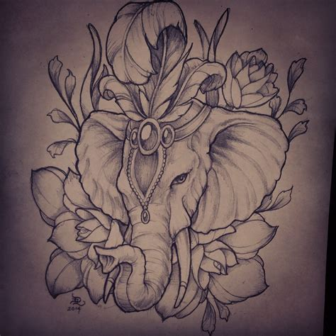 drawn tattoos elephant pencil and in color