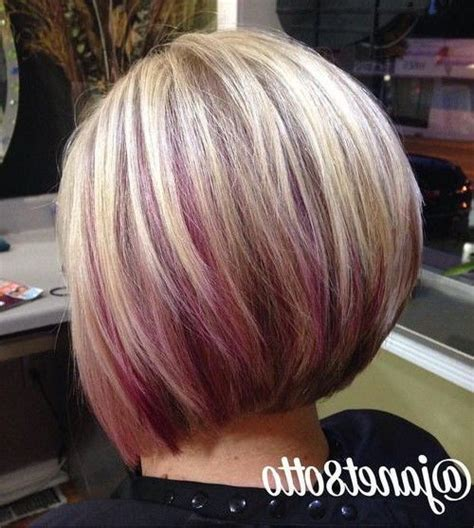 dirty blonde bob hairstyle with peek a boo highlights blonde bob with purple peekaboo highlights love the color