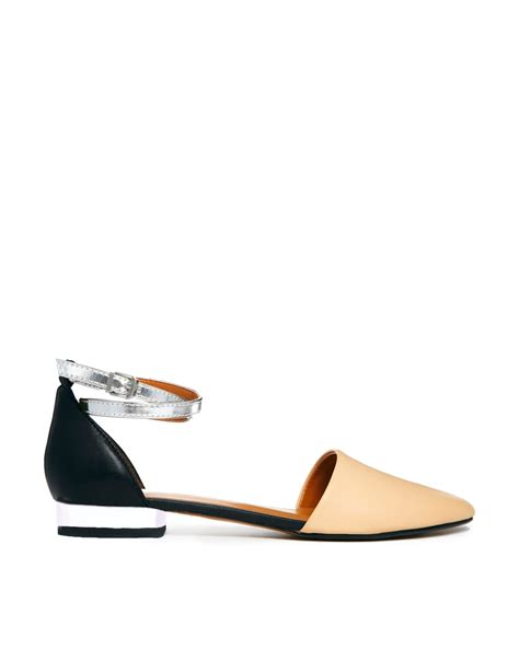 spike flat shoes report signature spike two part flat shoes in beige