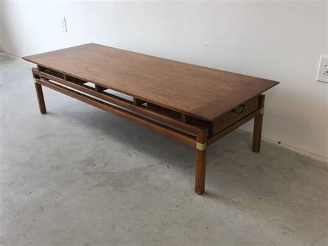 1980s hickory regency walnut coffee table for