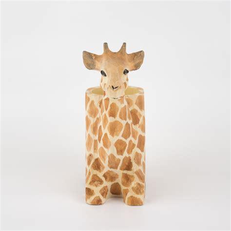giraffe planter giraffe hand carved wooden animal planter elemental