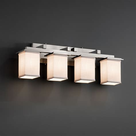 5 Light Bathroom Vanity Fixture by Justice Design Fab 8674 Montana Textile 4 Light Bathroom