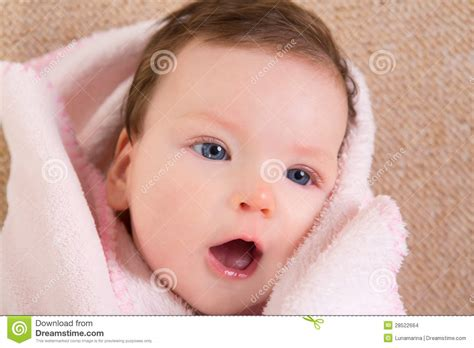little girl mouth open baby little girl face portrait open mouth stock images