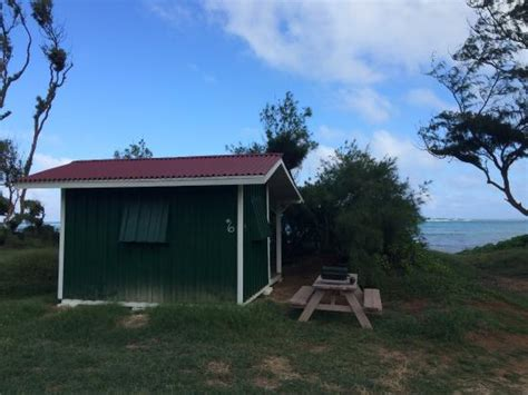 picnic table by cabin picture of malaekahana state