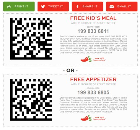chilis to go coupon 2017 chilis coupons appetizer or meal free with yours at