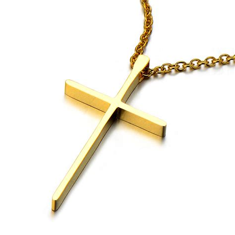 small unisex gold cross pendant necklace for stainless