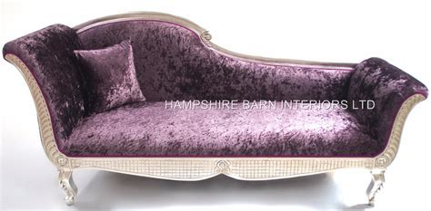 purple crushed velvet chaise 1 beautiful silver leaf ornate platinum chaise with