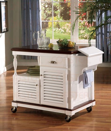 kitchen island cherry kitchen island white and cherry finish by coaster 910013
