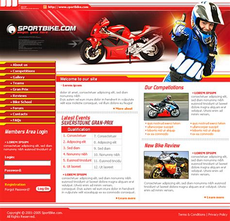 Motor Bike Css Template 0623 Cars Transportation Website Templates Dreamtemplate Bike Showroom Website Template Free