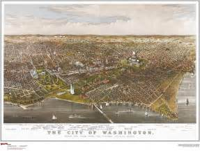 washington dc antique wall map maps