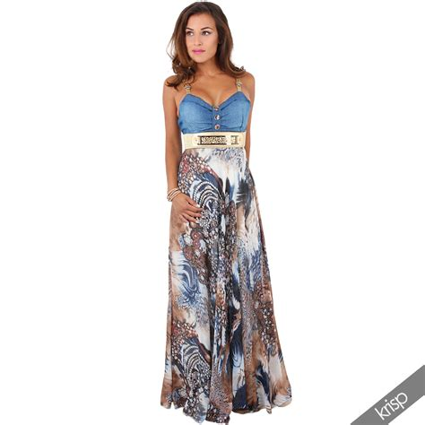 Best Denim Chiffon Dress leather denim top chiffon pleated skirt summer maxi dress ebay
