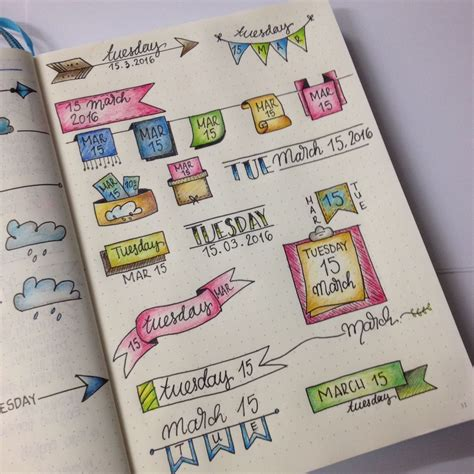 daily doodle diary bujo daily header ideas from the bullet journal junkies