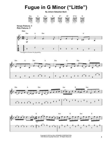 bach fugue in em on banjo fugue in g minor partition par j s bach