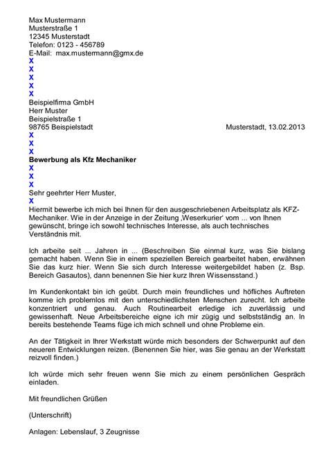 Bewerbungsschreiben Praktikum Schüler Kfz Mechatroniker Www Bewerbungs 1x1 De Mustervorlagen Quot K Quot