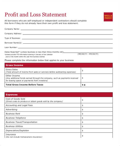 personal profit and loss statement sle profit and loss