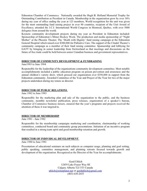 uhlich volunteer and community development resume