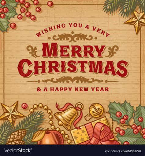 merry christmas vintage card royalty  vector image