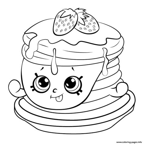 coloring pages of pan cake print ultra rare strawberry pancake shopkins season 6