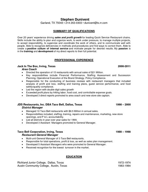 How To Make A Resume For Restaurant by Resume Free Restaurant Manager Resume Exles Template Restaurant Sle Resume