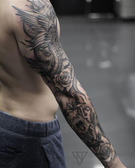 wip blackwork sleeve tattoos on men pinterest