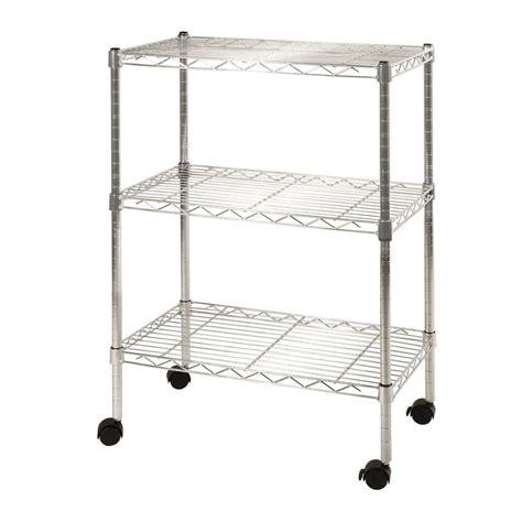 Wire Shelf Cart by Seville Classics 3 Shelf Steel Wire 4 Wheeled Cart In