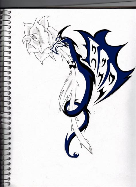 dragon rose tattoo by shadowfox94 on deviantart