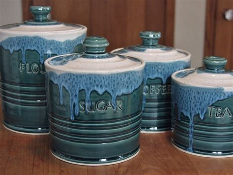 Handmade Pottery Canister Sets - pottery ceramic canister sets custom from kboriginalsetc