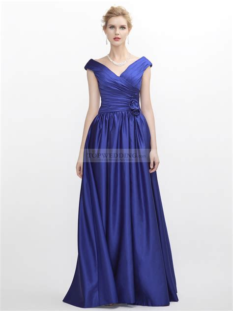 design formal dress v neck satin evening dress with ruffled bodice in cap