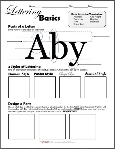 typography basics typography lettering basics worksheet